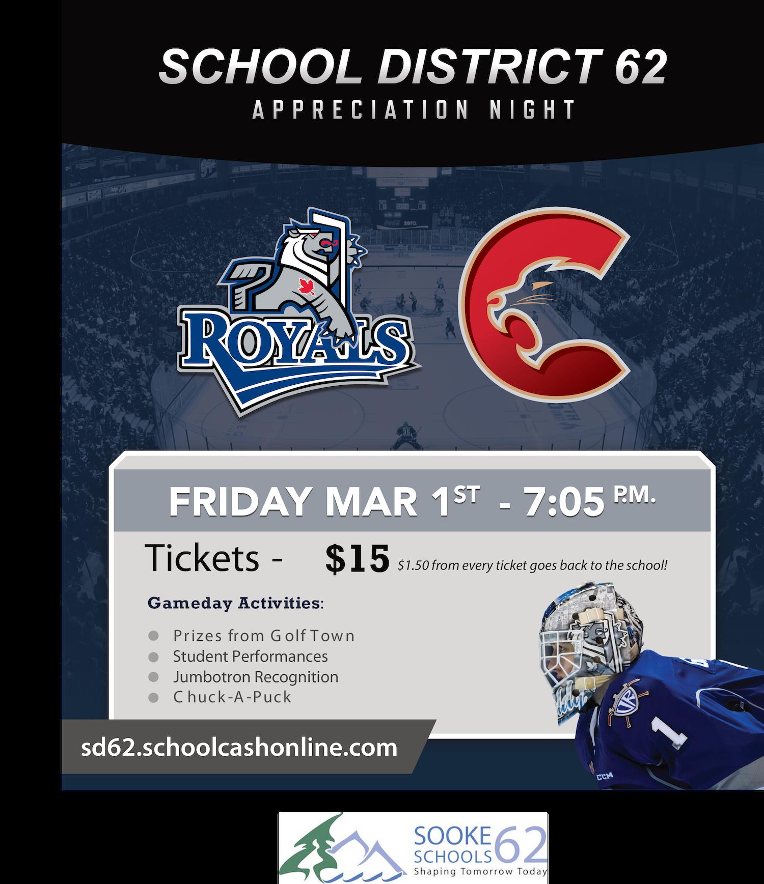 Poster feature school dirstict logo and Victoria Royals hockey team logo